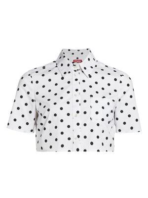 Violet Polka Dot Shirt Crop Top