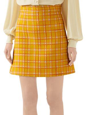 Fancy Tweed Damier A-Line Mini Skirt