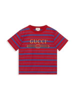 Little Boy's & Boy's Striped Logo T-Shirt