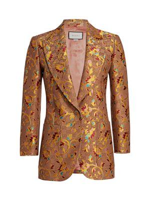 GG Ramage-Print Silk & Wool Jacket