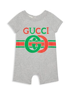 구찌 여자 아기용 쇼트올 Gucci Babys Short-Sleeve All In One,Light Grey Multi