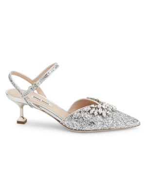 Jewelled Glitter Slingback Pumps