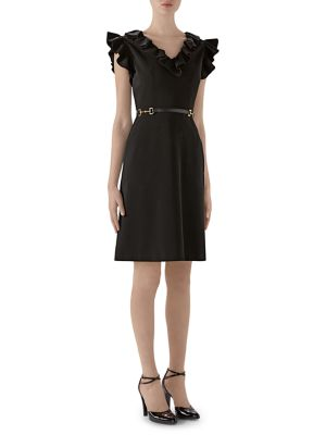 Stretch Ruffle Buckle Dress