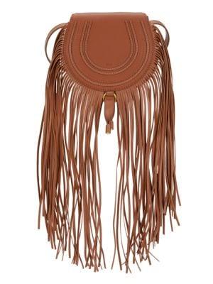 Small Marcie Fringe Leather Saddle Bag