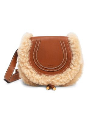 Small Marcie Shearling-Trimmed Leather Saddle Bag
