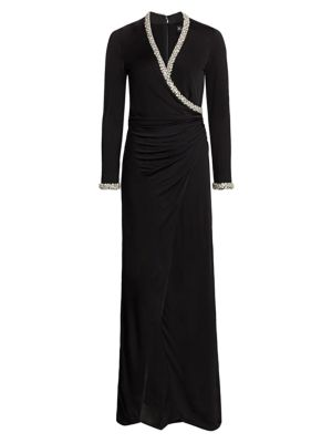 Tatum Crystal Trim Faux-Wrap Gown