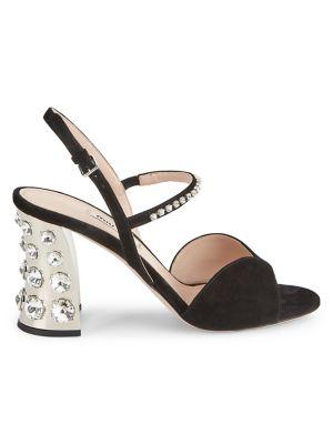 Jewelled Block-Heel Suede Slingback Sandals