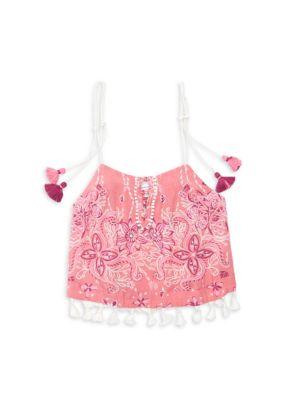 Little Girl's & Girl's Mara Floral Tassel Top
