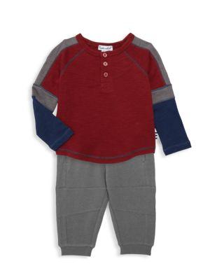 Baby Boy's Varsity Henley 2-Piece Set