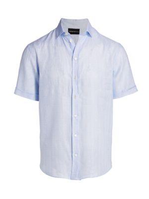 Micro Pattern Linen Short-Sleeve Shirt