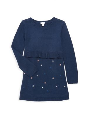 Little Girl's Star Embroidered Knit A-Line Dress