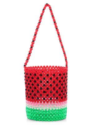 Watermelon Beaded Bucket Bag