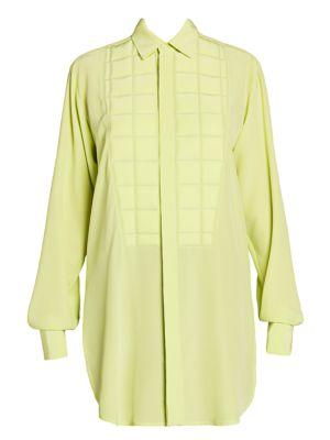 Gridded-Bib Silk Shirt