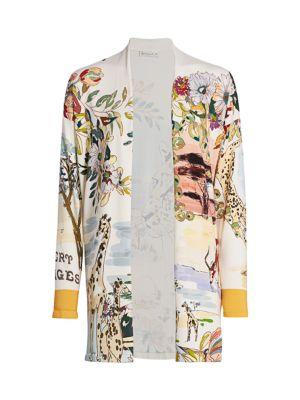 Safari-Print Silk-Blend Cardigan