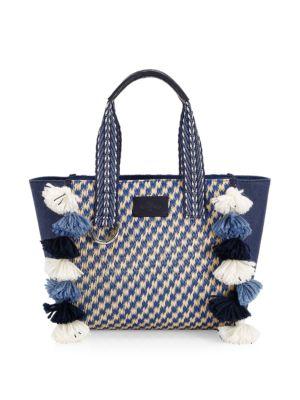 Boho Raffia Pom Top Handle Bag