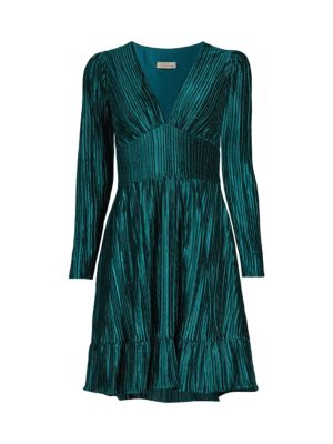 Laine Pleated V-Neck Dress