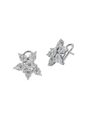 Mosaic 18K White Gold & Diamond Flower Earrings