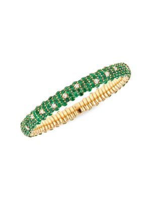 Stretch 18K Yellow Gold, Tsavorite & Diamond Bracelet