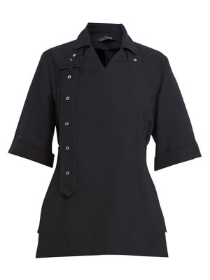 Boxy Blouse with Belted Bib