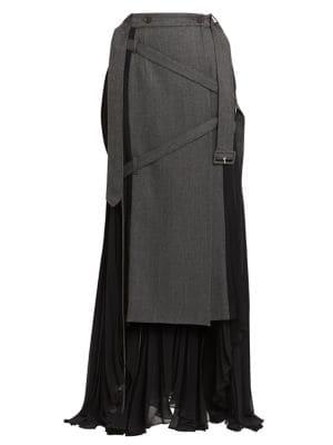 Pleated Wool-Blend Wrap Skirt