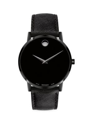 Museum Classic Stainless Steel & Leather Strap Watch