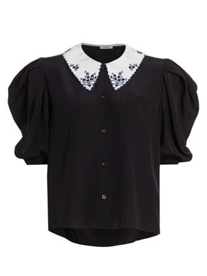 Silk Crepe De Chine Collared Puff-Sleeve Blouse