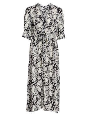 Her Floral-Print Stretch-Silk A-Line Midi Dress