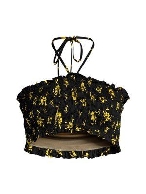 Recycled Fabric Floral Halter Bikini Top