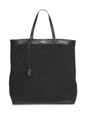 Leather-Trimmed Raffia Shopper