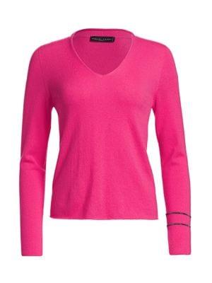 Brilliant-Trim Cashmere V-Neck Sweater