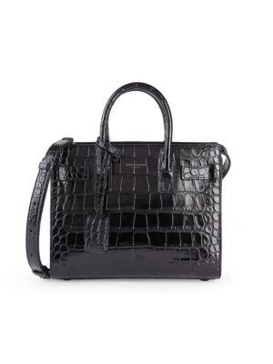 Small Sac De Jour Croc-Embossed Leather Satchel