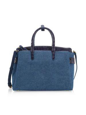 Large Crisitie Crocodile-Trim Linen Top-Handle Bag