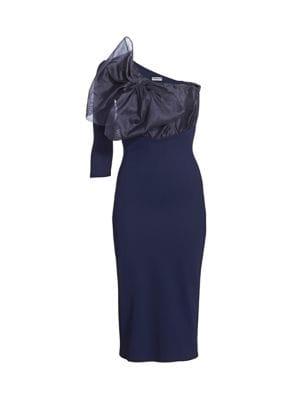 Caltha Organza Bodice Asymmetric Bodycon Dress