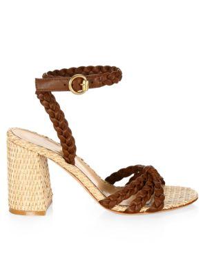 Braided Colorblock Metallic Leather Sandals