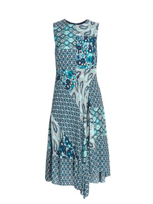 Azure Mixed Print A-line Dress