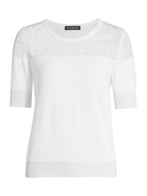 Lurex Knit Pointelle Sweater