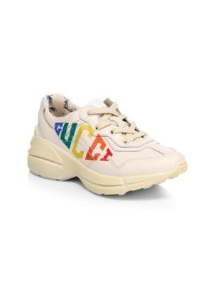 Girl's Rhython Rainbow Logo Leather Sneakers