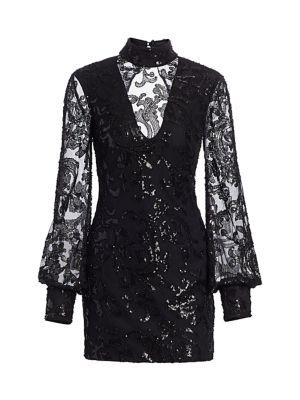 Revano Beaded Open-Back Mini Dress