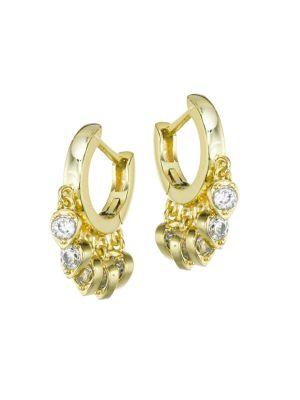 14K Goldplated & Pavé Teardrop Charm Huggie Hoop Earrings