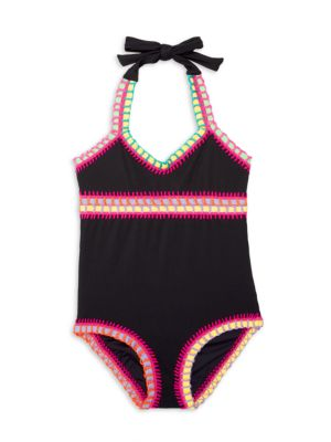 Little Girl's & Girl's Pily Q x Solange Ferrarini Rainbow-Embroidered Halter One-Piece Swimsuit