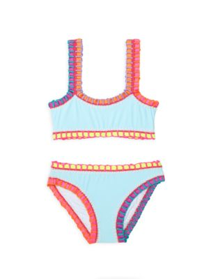 Little Girl's & Girl's Pily Q x Solange Ferrarini2-Piece Rainbow-Embroidered Bikini Set