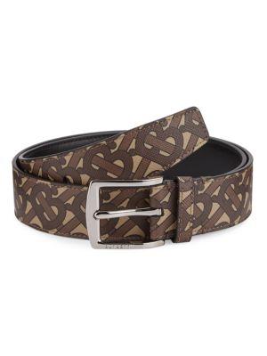 TB Burberry Monogram E-Canvas & Leather Belt