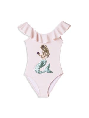 Little Girl's & Girl's One-Piece UPF 50+ Embellished Mermaid Swimsuit