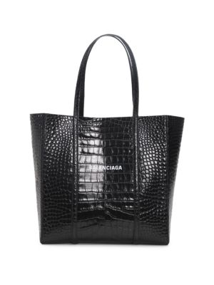 Small Everyday Croc-Embossed Leather Tote