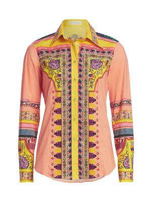 Mosaic Print Cotton Button Down Shirt