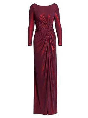 Metallic Long-Sleeve Drape Side Slit A-Line Gown