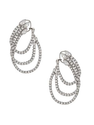 Luminal 18K White Gold & Diamond Front-Facing Triple-Hoop Earrings