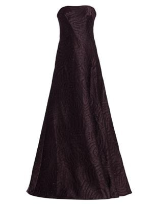 Jacquard Strapless Flare Gown