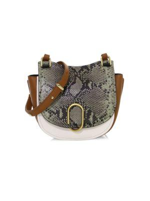Alix Python-Embossed Leather Saddle Bag