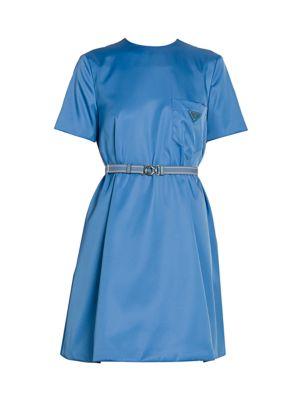 Patch Pocket Belted Swing Dress